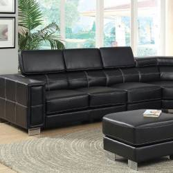 GARZON SECTIONAL Black Bonded Leather Match