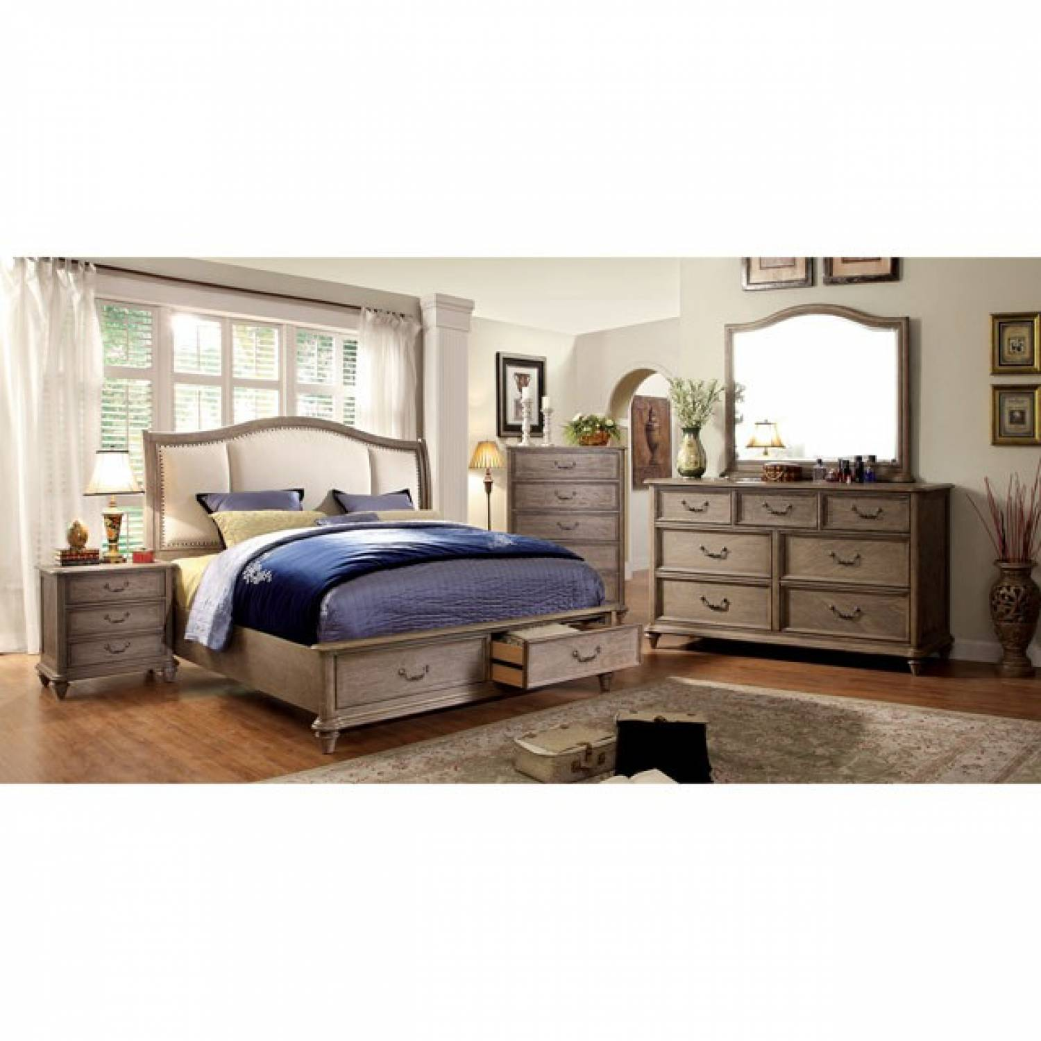 BELGRADE I 5 PC SETS (QUEEN BED + DRESSER + MIRROR + NIGHT
