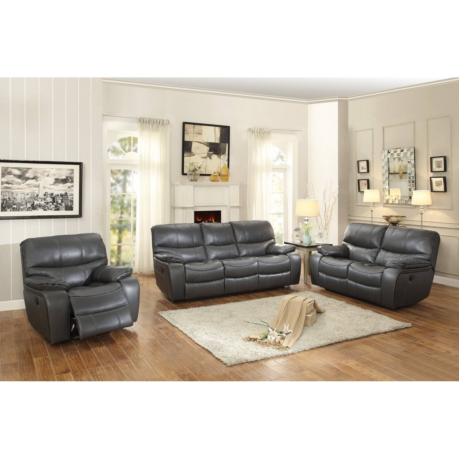 Pecos Power Reclining Sofa Set Leather Gel Match Grey