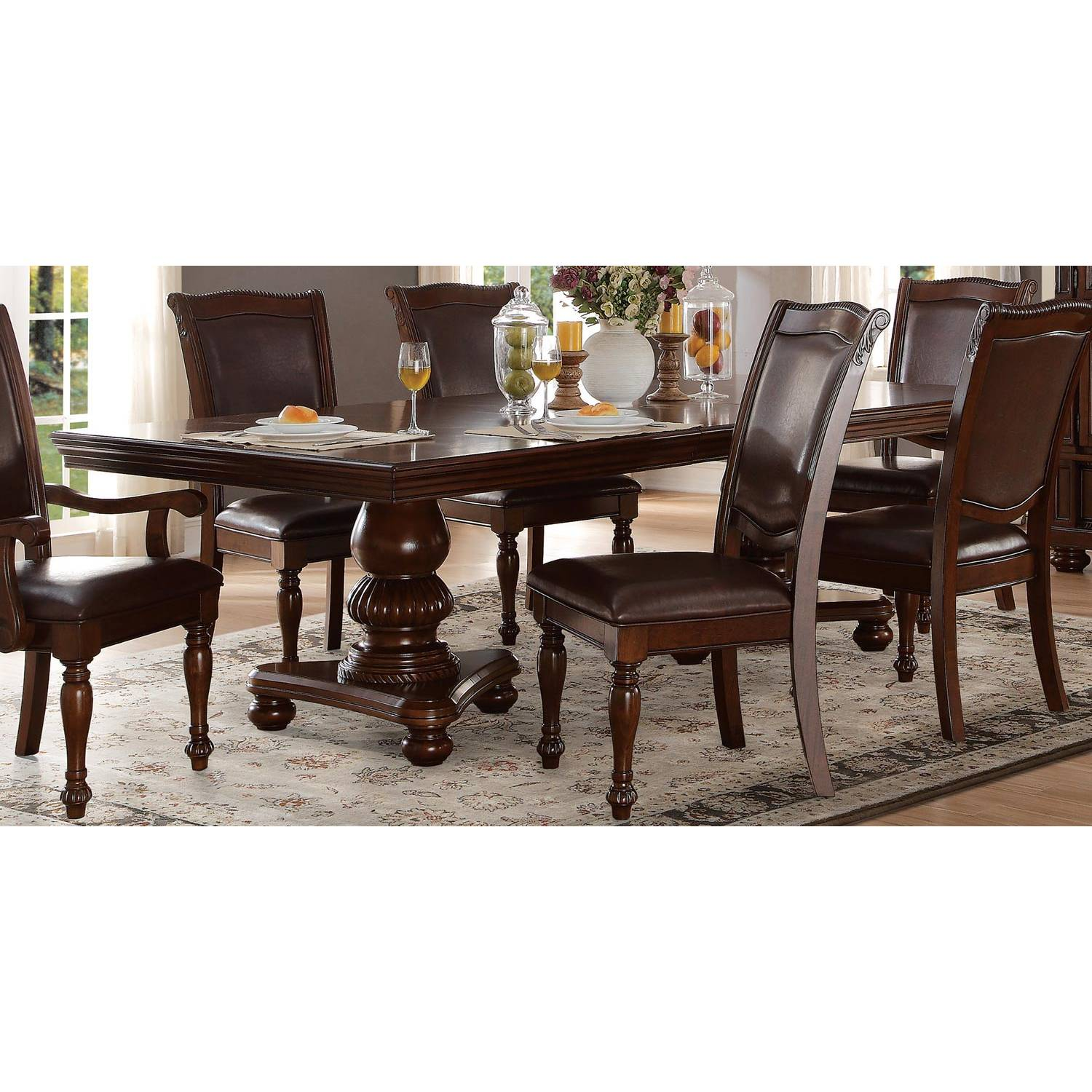Double Pedestal Dining Table - Brown Cherry