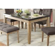 Huron Dining Table - Faux Marble Top - Weathered Wood