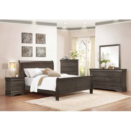 Mayville Sleigh Bedroom 4Pc Set - Stained Grey