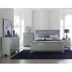 Allura Bedroom 4Pc Set with LED Lighting - Silver