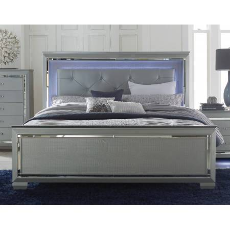 Allura Eastern King Bed, LED Lighting - Silver