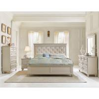 Celandine Upholstered Bedroom 4Pc Set - Silver