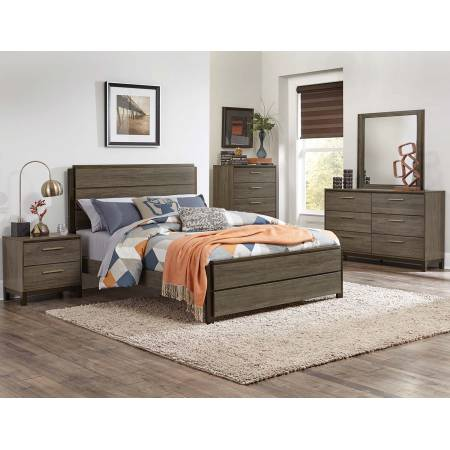 Vestavia Panel Bedroom Set 4 Pc - Grey/Dark Brown
