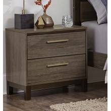 Vestavia Panel Night Stand - Grey/Dark Brown