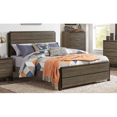 Vestavia Panel Twin Bed - Grey/Dark Brown