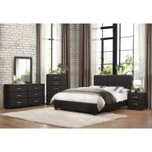 Lorenzi Upholstered Platform Bedroom Set 4 Pc - Black Vinyl