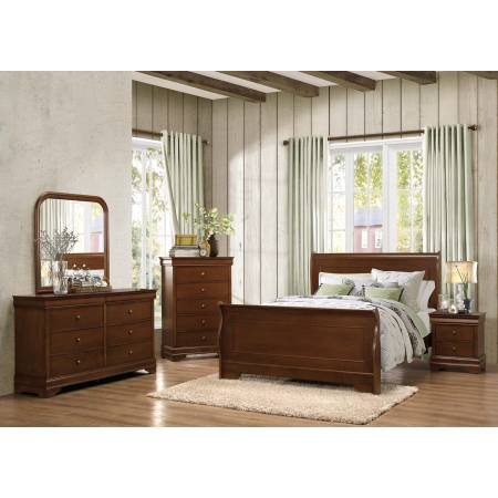 Abbeville Sleigh group 5 Pc - Brown Cherry