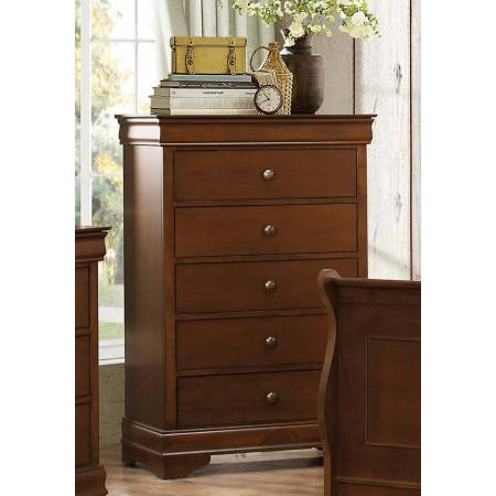 Abbeville Sleigh Chest with Hidden Drawer - Brown Cherry