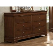 Abbeville Sleigh Dresser with Two Hidden Drawers - Brown Cherry