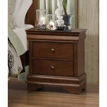 Abbeville Sleigh Night Stand with Hidden Drawer - Brown Cherry