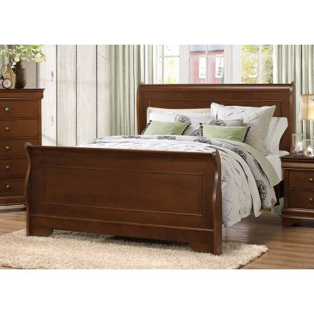Abbeville Sleigh Twin Sleigh Bed - Brown Cherry