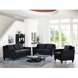 HARTFORD CURVED ARM BLACK SOFA 3 PC SET CCHRFKSM26BKVA-Gr