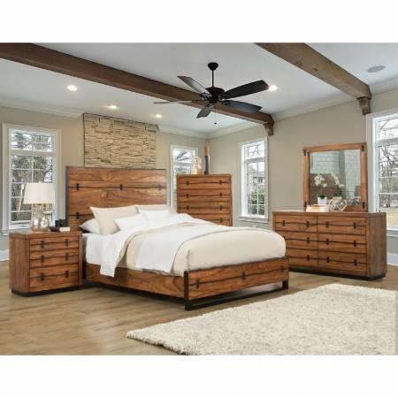5200 Alpine Furniture 5200-01Q Live Edge 4PC SETS Queen Panel Bed Tobacco Finish Mahogany