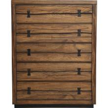 5200 Alpine Furniture 5200-05 Live Edge 5 Drawer Chest Tobacco Finish Mahogany