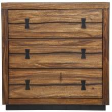 5200 Alpine Furniture 5200-04 Live Edge 3 Drawer Chest Tobacco Finish Mahogany