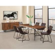 1968 Alpine Furniture 1968-01 Live Edge 7PC SETS Dining Table + 6 Dining Chair Dark Brown