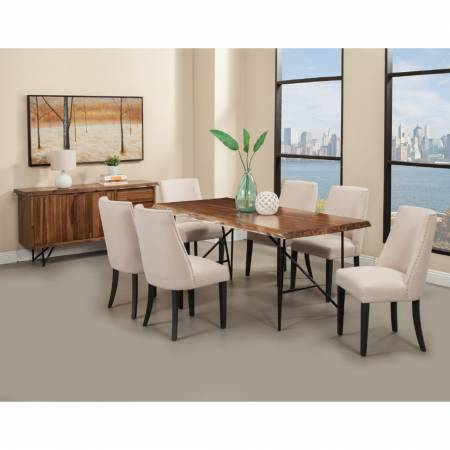 1968 Alpine Furniture 1968-01 Live Edge 7PC SETS Dining Table + 6 Chairs