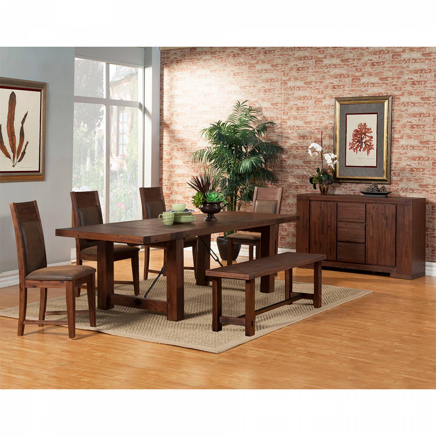 8104 Alpine Furniture 8104 01 Pierre 6pc Sets Dining Table 4 Chairs Bench