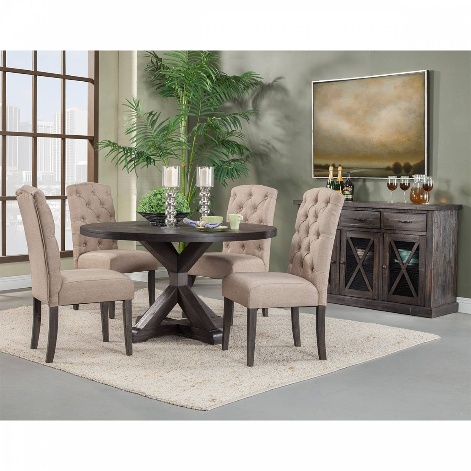 1468 Alpine Furniture 1468 25 Newberry 7PC SETS Round Dining Table + 4  Chairs