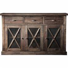 1468 Alpine Furniture 1468-26 Newberry Buffet Salvaged Grey 3 Drawers Doors