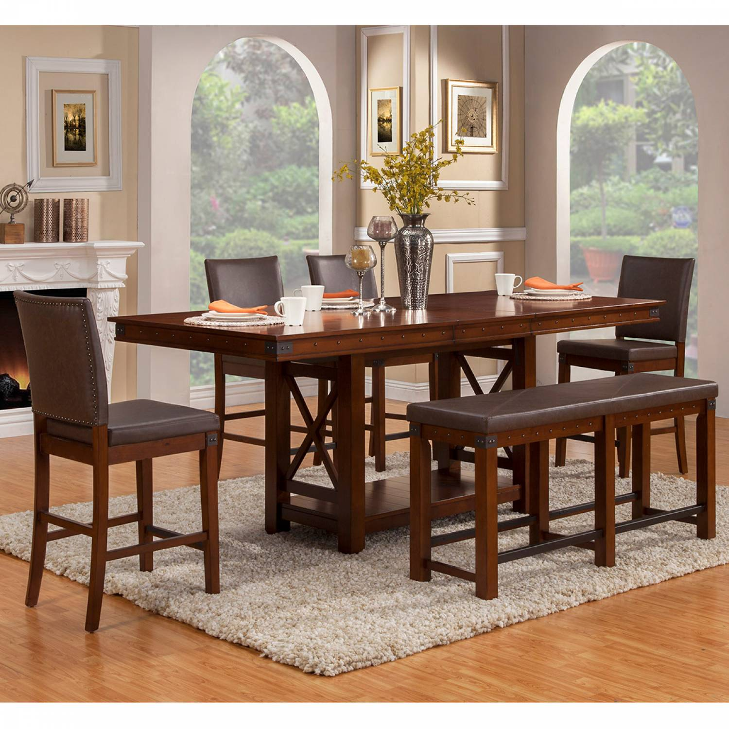 Awesome 2727 Alpine Furniture 2727 01 Artisan 6Pc Sets Dining Table 4 Chairs Bench Short Links Chair Design For Home Short Linksinfo