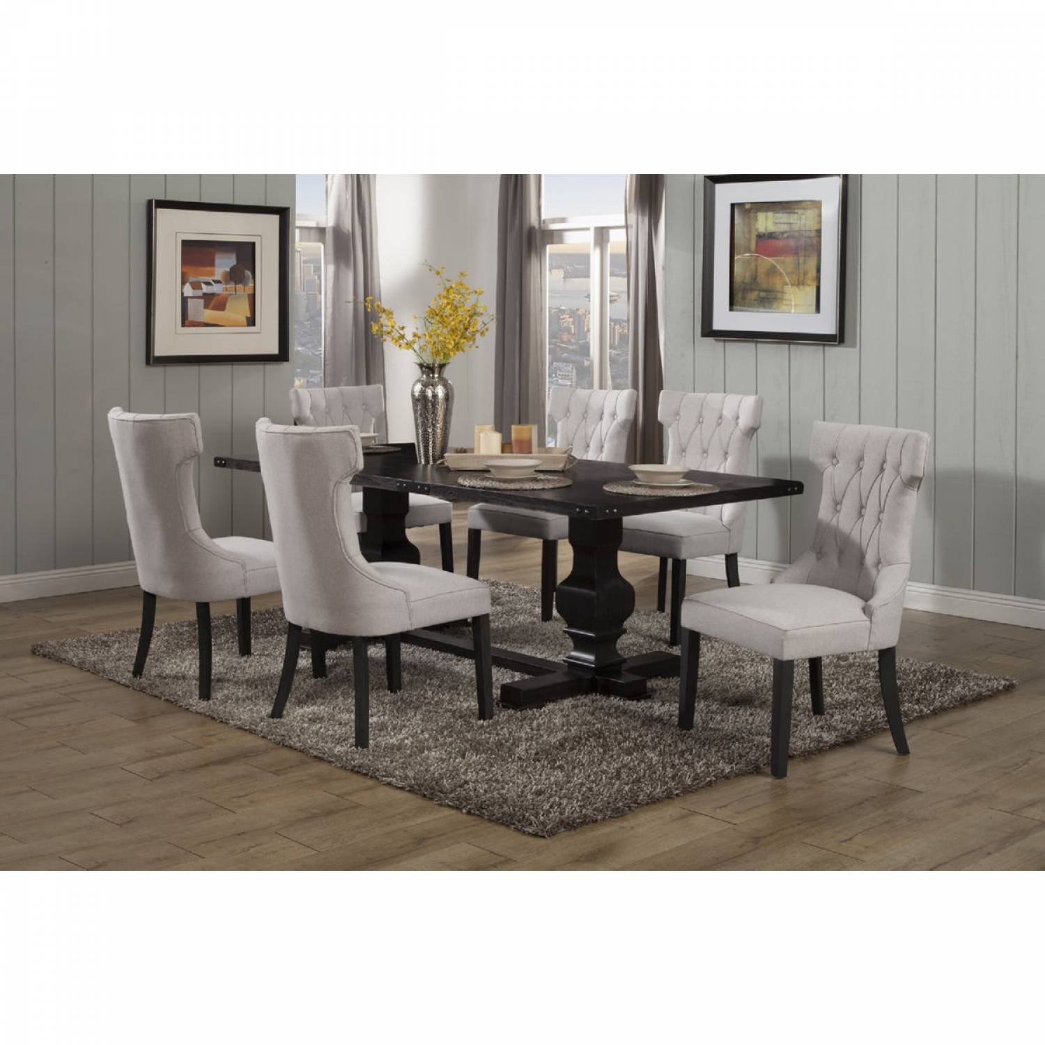 Admirable 3868 Alpine Furniture 3868 01 Manchester 7Pc Sets Dining Table 6 Chairs Short Links Chair Design For Home Short Linksinfo
