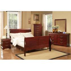 2700 Alpine Furniture 2700Q Louis Philippe II 4PC SETS Queen Sleigh Bed Cherry Finish