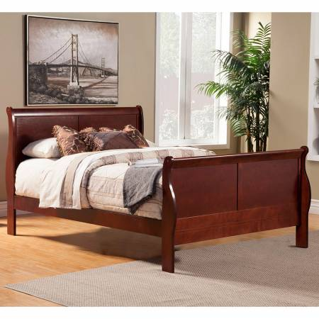 2700 Alpine Furniture 2700F Louis Philippe II Full Size Sleigh Bed Cherry Finish