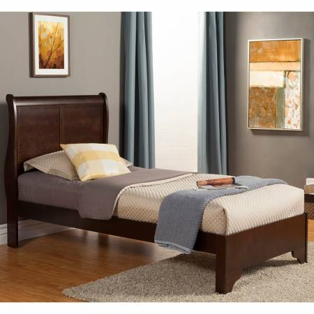 2200 Alpine Furniture 2200T West Haven Twin Low Footboard Sleigh Bed Cappuccino Finish