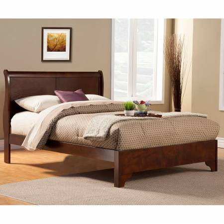 2200 Alpine Furniture 2200EK West Haven Eastern King Low Footboard Sleigh Bed Cappuccino Finish