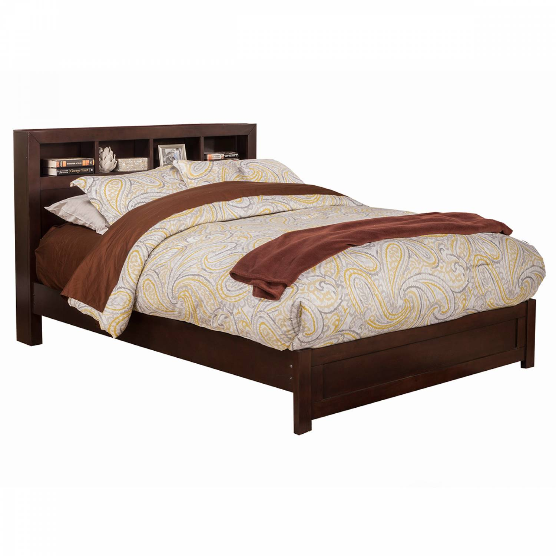 Nsk Alpine Furniture Nsk 08f Solana Full Platform Bed Bookcase Headboard Cappuccino Finish