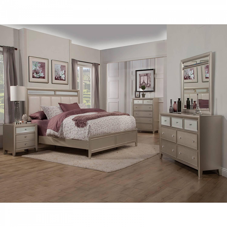 1519 Alpine Furniture 1519 01Q Silver Dreams 4Pc Sets Queen Panel