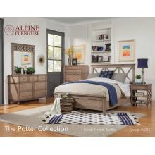 1055 Alpine Furniture 1055-01Q Potter 4PC SETS Queen Panel Bed French Truffle Finish
