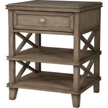 1055 Alpine Furniture 1055-02 Potter 1 Drawer Nightstand Open Shelves French Truffle Finish