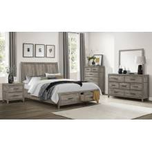1526-1*4 4PC SETS Queen Platform Bed with Footboard Storage