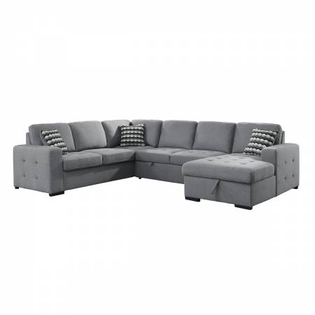 9313GY*42LRC 4-Piece Sectional with Pull-out Bed and Hidden Storage