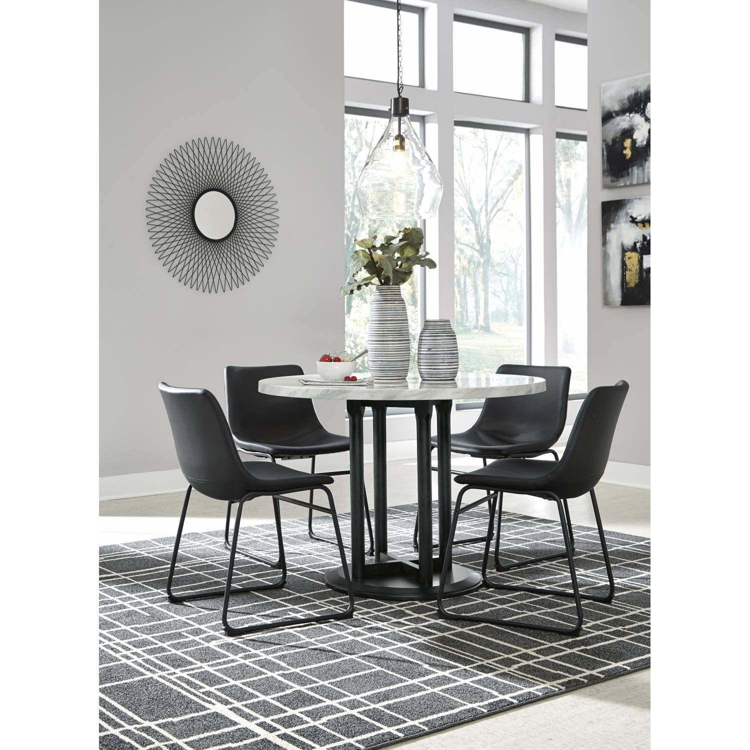 D372 14 06 4 5pc Sets Round Dining Room Table 4 Side Chairs