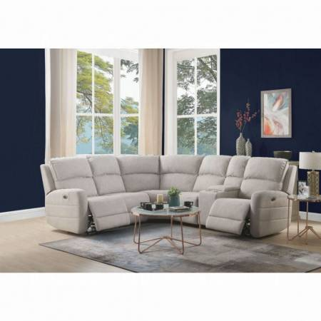 Olwen Sectional Sofa (Power Motion & USB) - 53920 - Cream Nubuck
