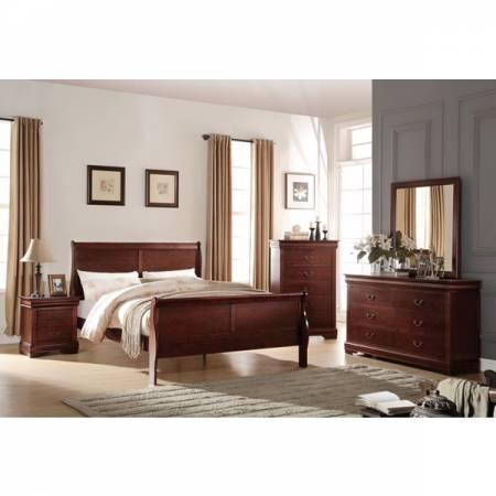 23750Q-4PC 4PC SETS Louis Philippe Queen Bed + Nightstand + Dresser + Mirror