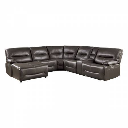 9579BRW*6LCRRPW 6-Piece Power Reclining Sectional with Left Chaise