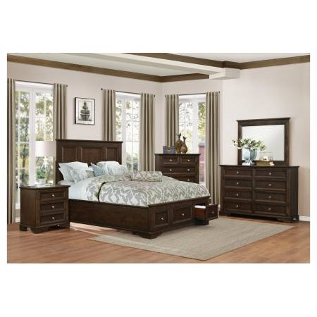 1844KDC-1CK*4 4PC SETS California King Platform Bed + Night Stand + Dresser + Mirror