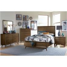 1711KNC-1CK*4 4PC SETS California King Platform Bed + Night Stand + Dresser + Mirror