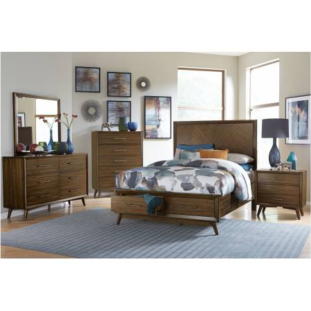 1711KNC-1EK*4 4PC SETS Eastern King Platform Bed + Night Stand + Dresser + Mirror