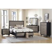 1711K-1CK*4 4PC SETS California King Platform Bed + Night Stand + Dresser + Mirror