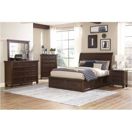 1559K-1CK*4 4PC SETS California King Platform Bed + Night Stand + Dresser + Mirror