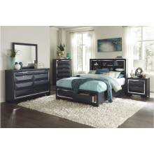 1553K-1CK*4 4PC SETS California King Platform Bed + Night Stand + Dresser + Mirror