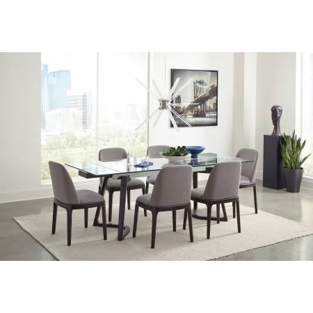 105131-S5 Annapolis 5-Piece Glass Top Dining Set Espresso And Grey